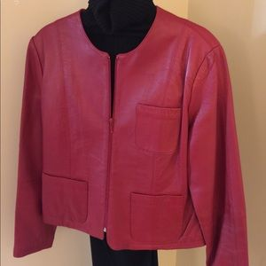 Willi Smith Red Lamb Leather Women's Jacket